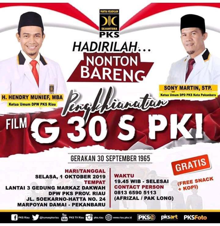 Undangan Nonton Bareng Film G 30 S/PKI di DPW PKS Riau ...